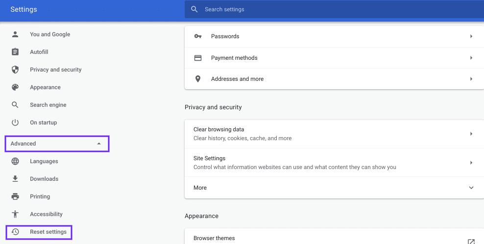 Restablecer la configuración de Chrome
