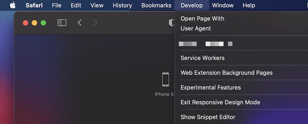 Posibilidad de salir del modo de diseño receptivo en Safari.