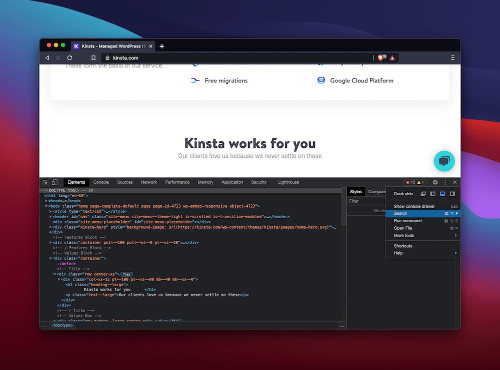Opciones de búsqueda en Brave Developer Tools.