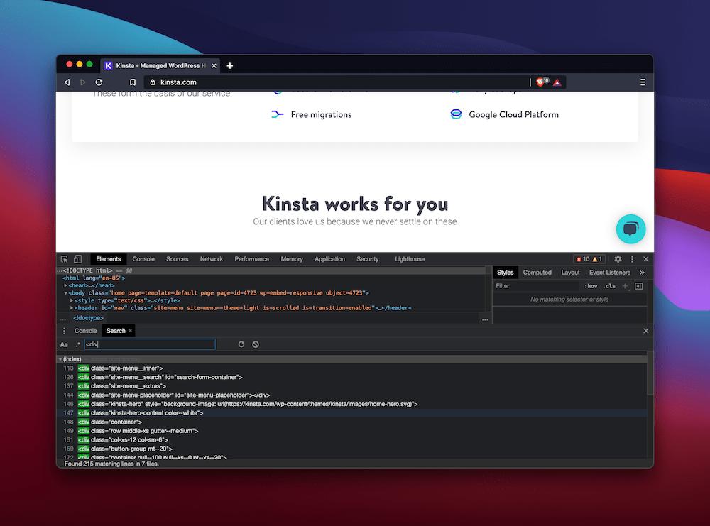 Busque elementos en Braven DevTools.