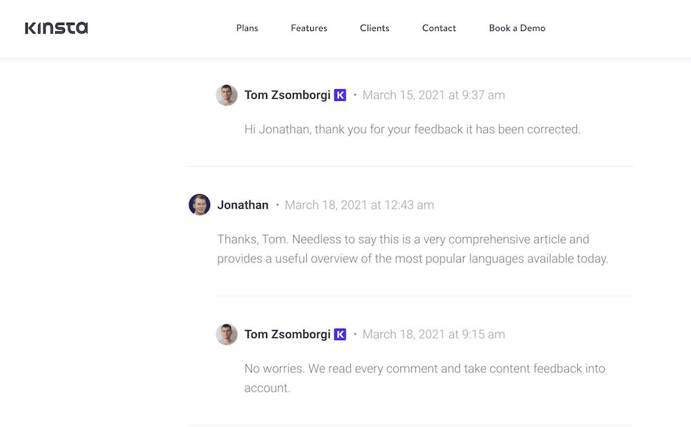 La sección de comentarios del sitio web.