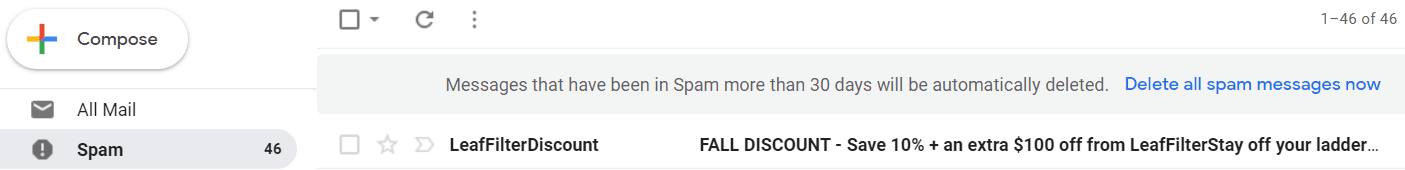 Palabras clave de encabezado de spam
