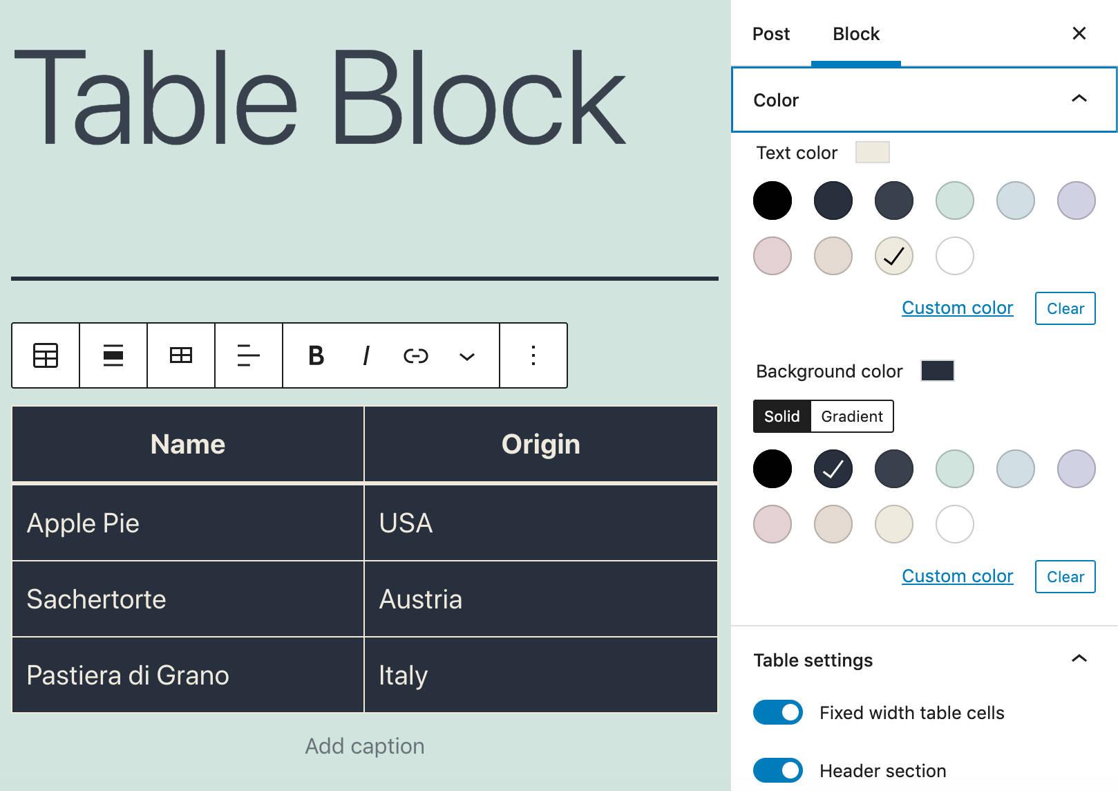 Configuración de color mejorada para bloques de mesa.