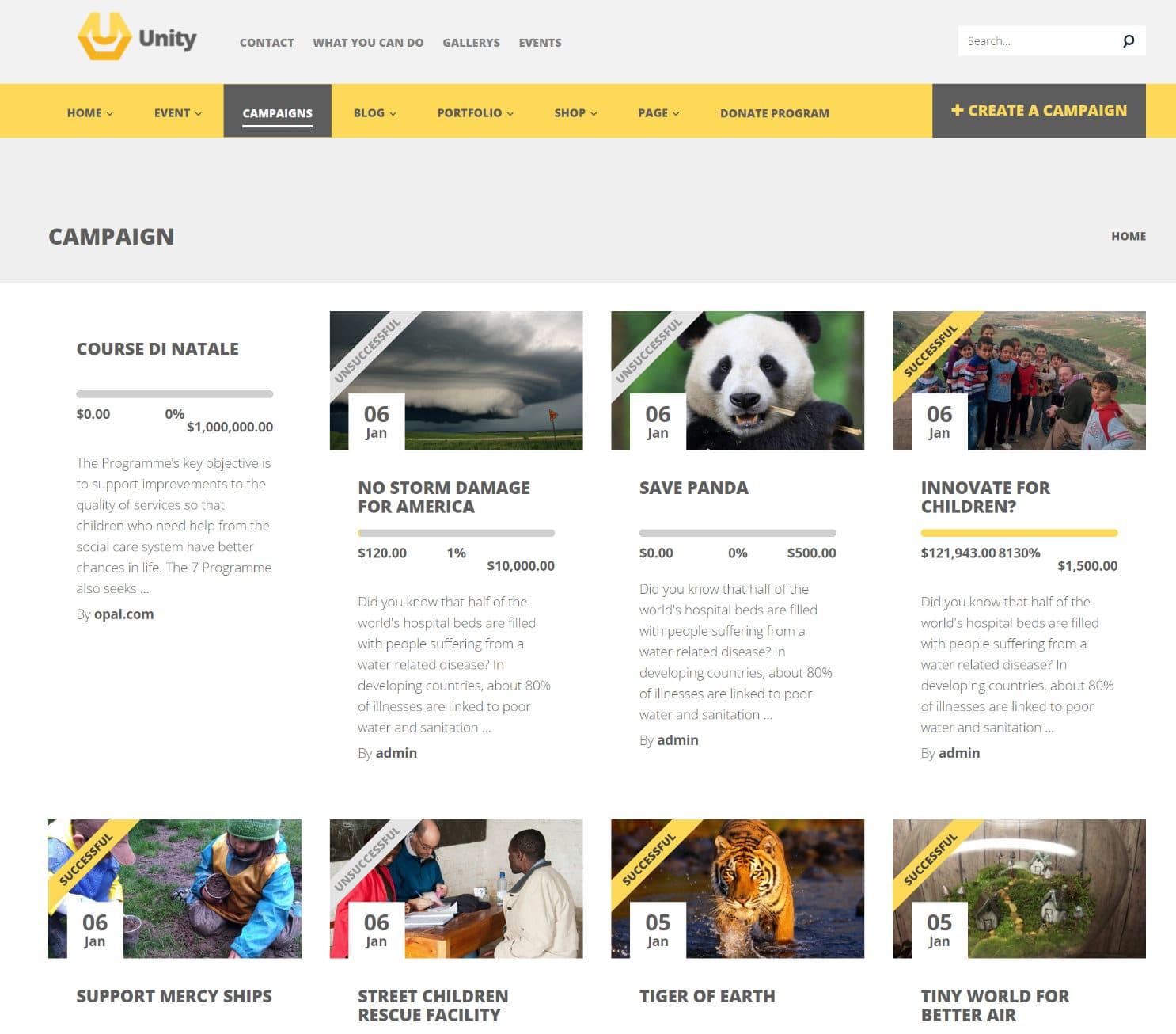Tema de crowdfunding de Unity WordPress