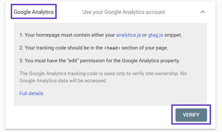Se resalta un cuadro alrededor de la pantalla de la cuenta de verificación de Google Analytics