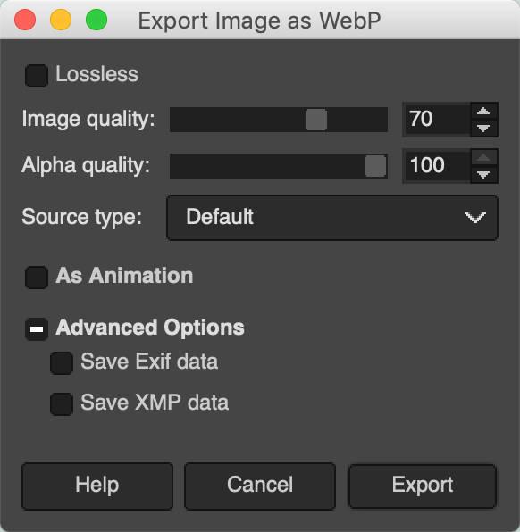Exporta imágenes como WebP en GIMP.