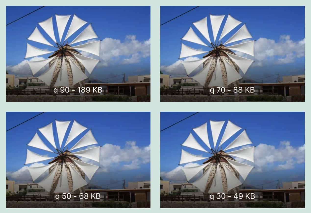 Comparación de factor de compresión y tamaño de archivo.