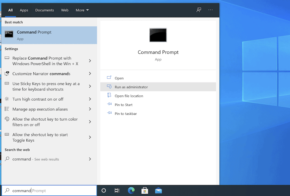 Símbolo del sistema de Windows.