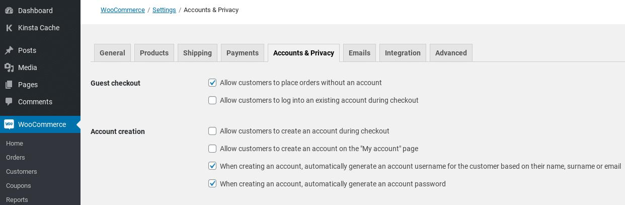 Privacidad de la cuenta de Woocommerce