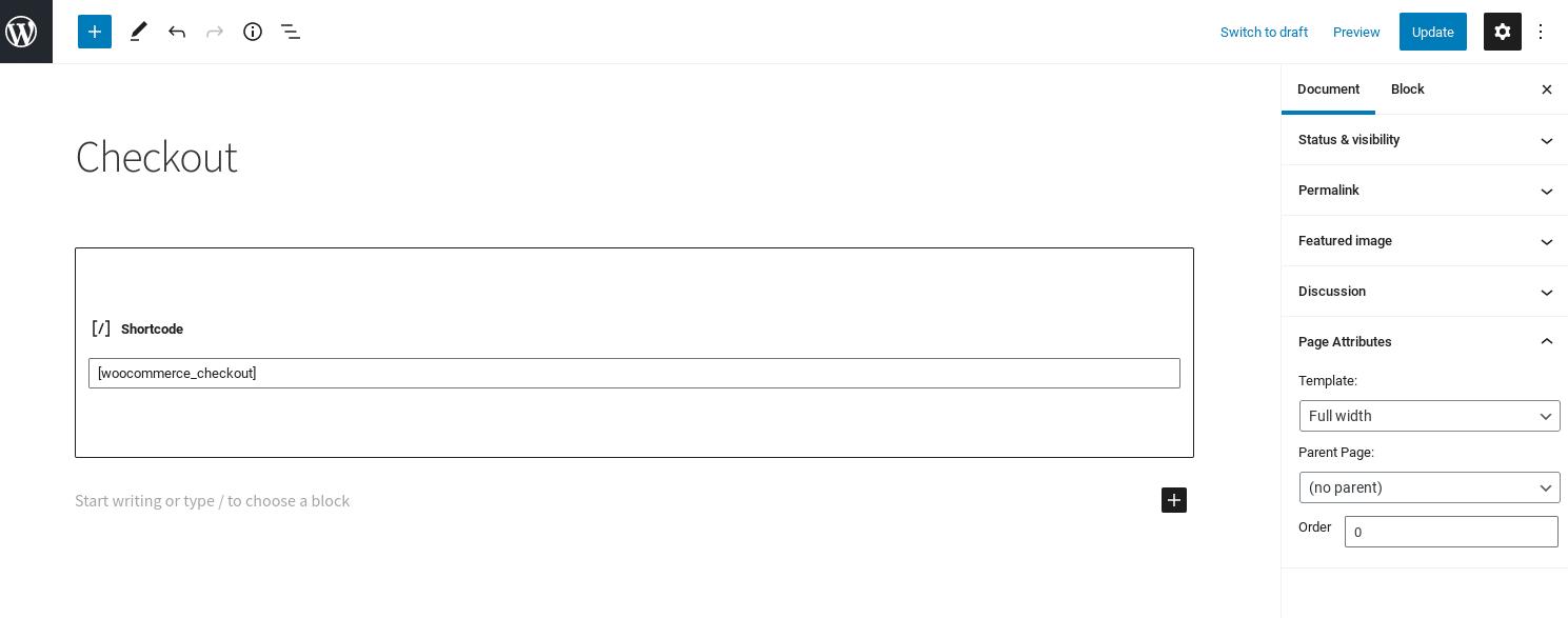 Código corto de pago de Woocommerce