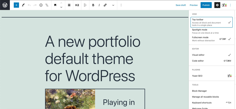 Barra de herramientas en la parte superior de la pantalla ancha de WordPress 5.7.