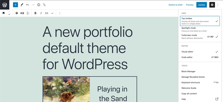 La barra de herramientas en la parte superior de la pantalla ancha de WordPress 5.8.
