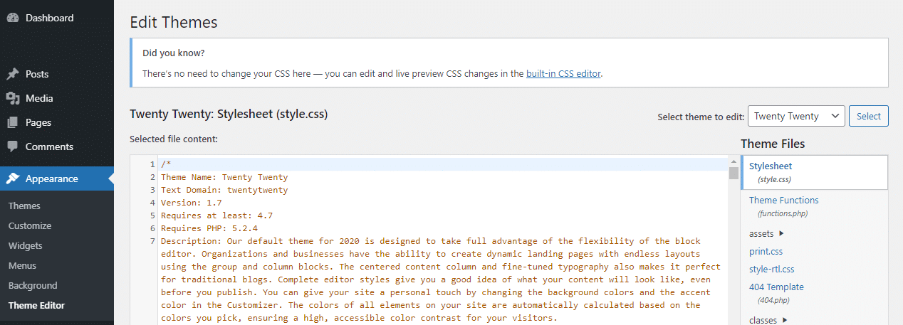 Captura de pantalla del diseño> Modificar el tema en WordPress» Ancho =»1268″ Altura =»457″ srcset =»https://closermarketing.es/wp-content/uploads/2021/08/wordpress-theme-editor.png 1268w, https://kinsta.com/wp-content/uploads/2021/07/wordpress-theme-editor -300×108.png 300w, https://kinsta.com/wp-content/uploads/2021/07/wordpress-theme-editor-1024×369.png 1024w, https://kinsta.com/wp-content/uploads/2021 /07/wordpress-theme-editor-768×277.png 768w» Tamaño =»(ancho máximo: 1268px) 100vw, 1268px»/></p> <p class=