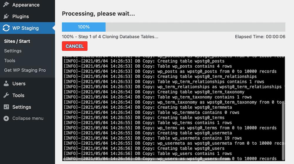 Complemento WP Staging proceso de clonación.