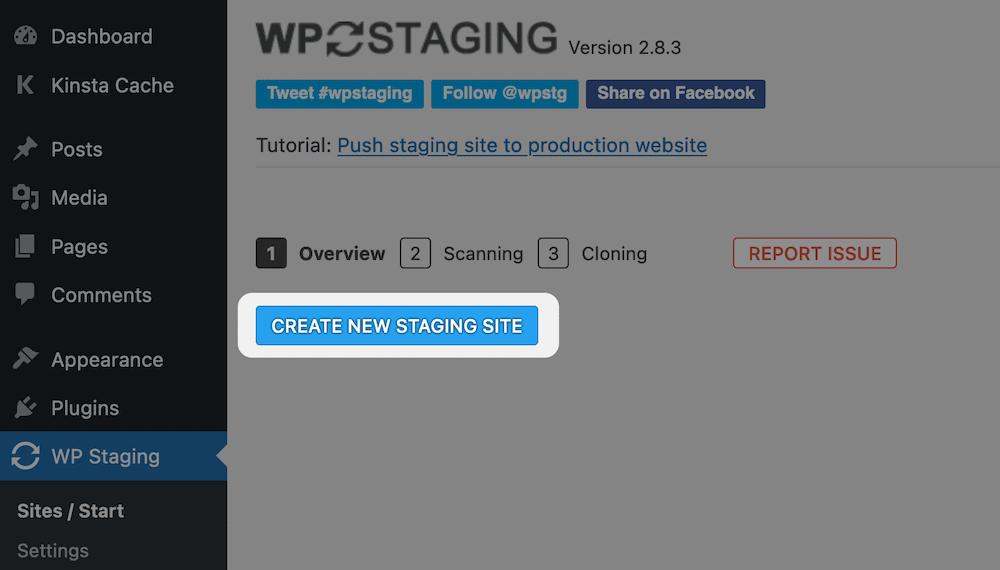 Cree un nuevo sitio temporal usando WP Staging.