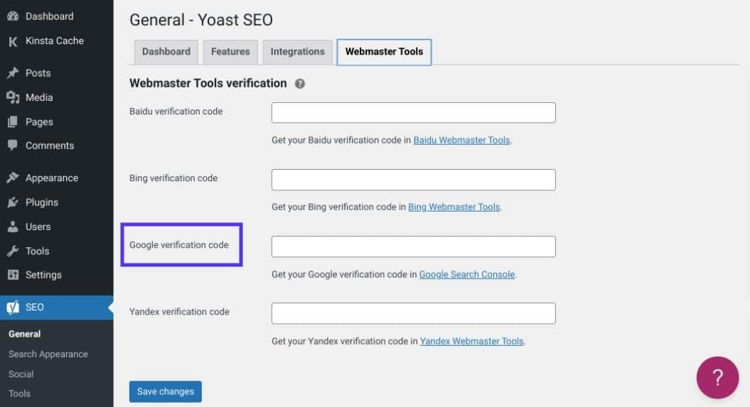 Verificación del sitio de Google en el servicio Yoast SEO de WordPress, rodeado por una casilla de verificación