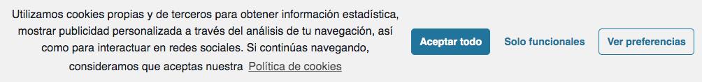Advertencia sobre cookies web