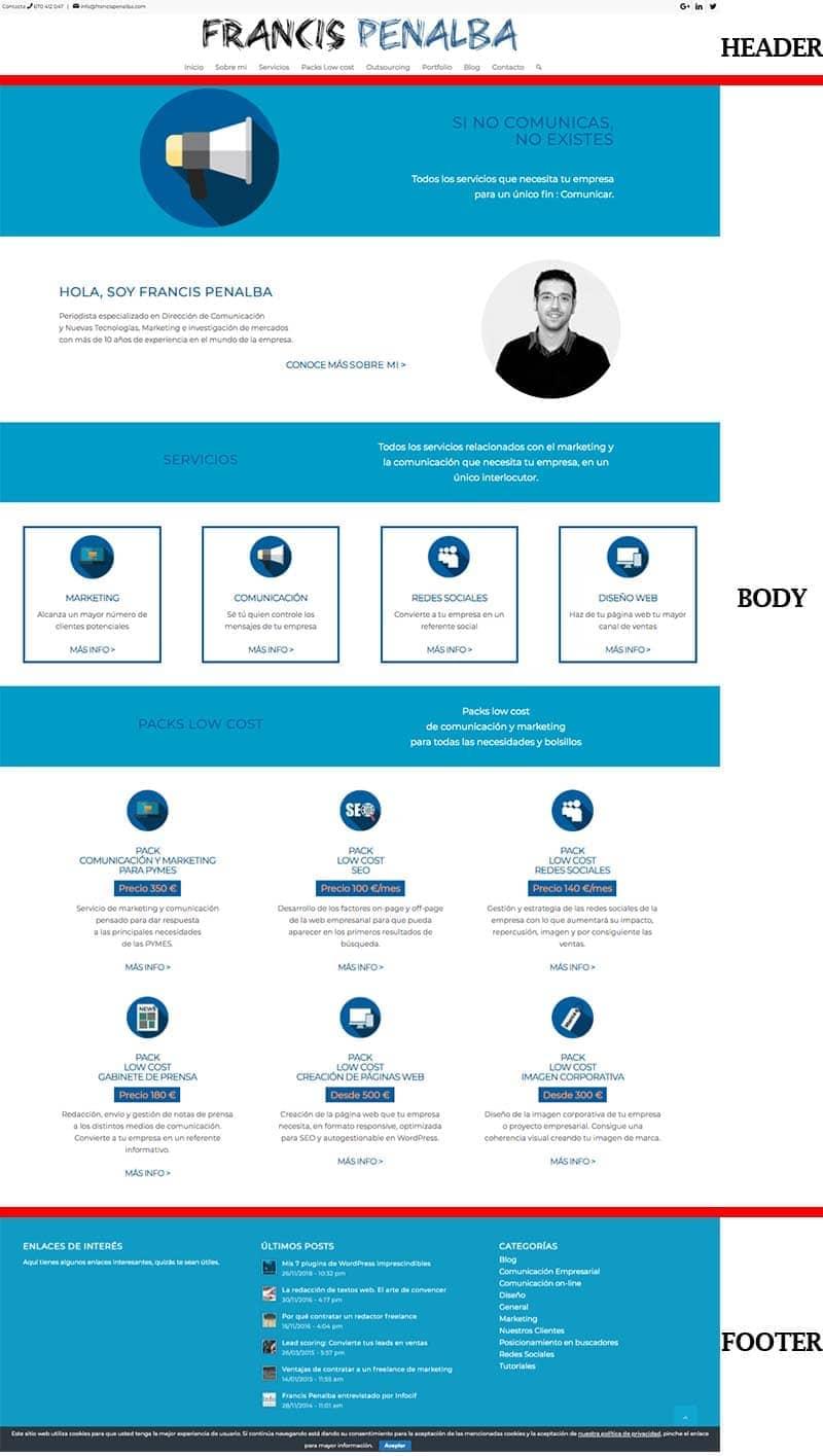 Estructura de la página