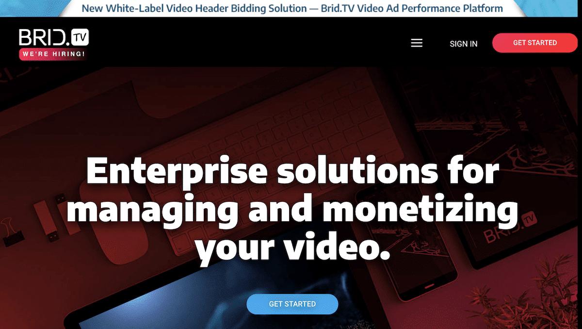 Captura de pantalla del sitio web Brid.TV.