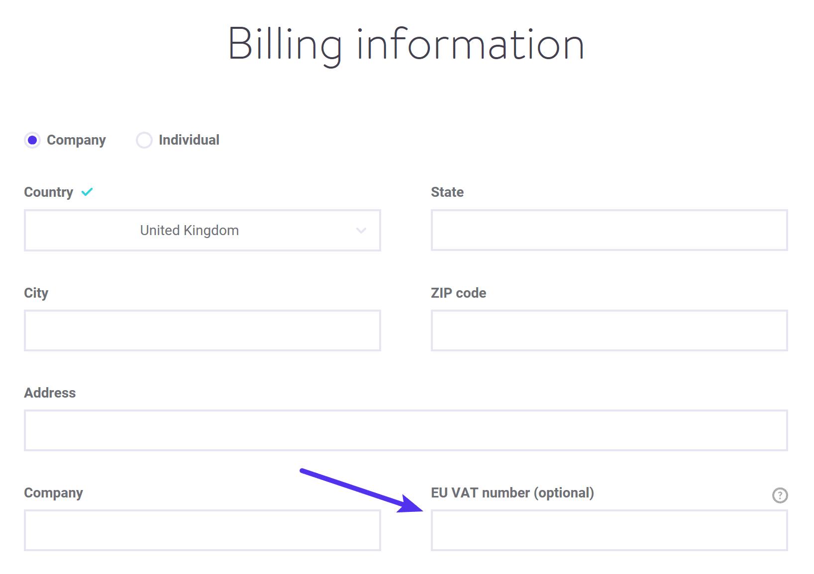 Ingrese su número de IVA al registrarse
