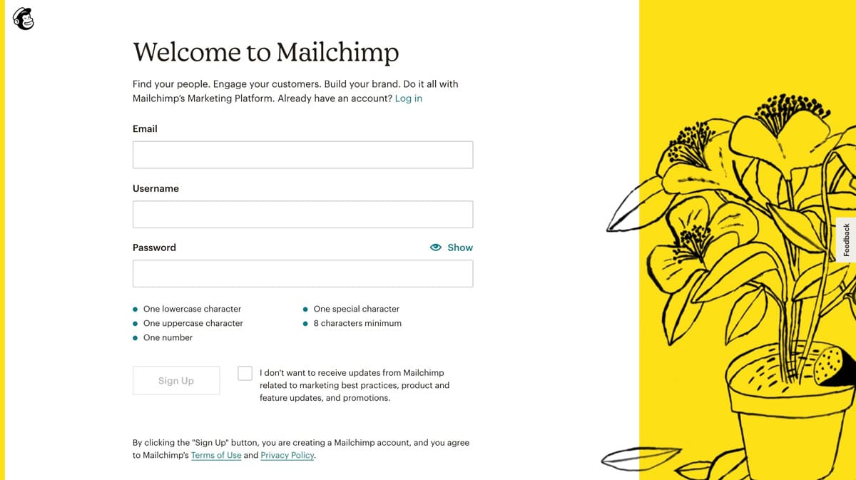 Registro de Mailchimp
