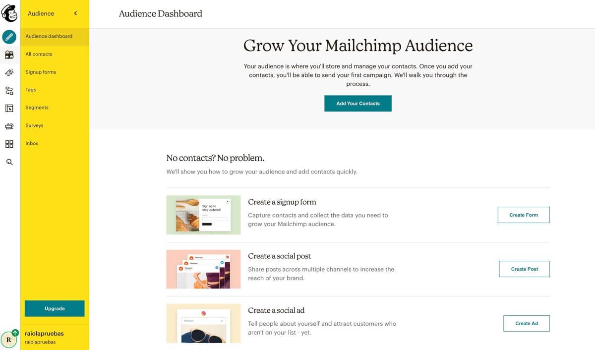 Crea una audiencia en Mailchimp