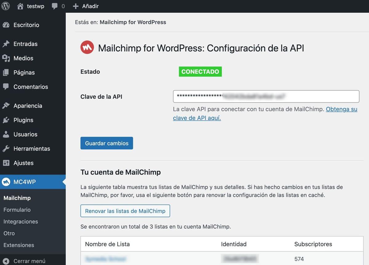Mailchimp para la personalización de WordPress