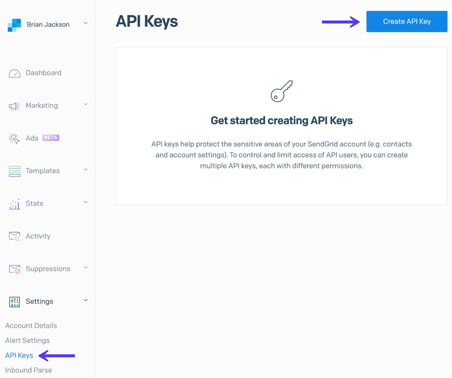 Generar una clave API de SendGrid