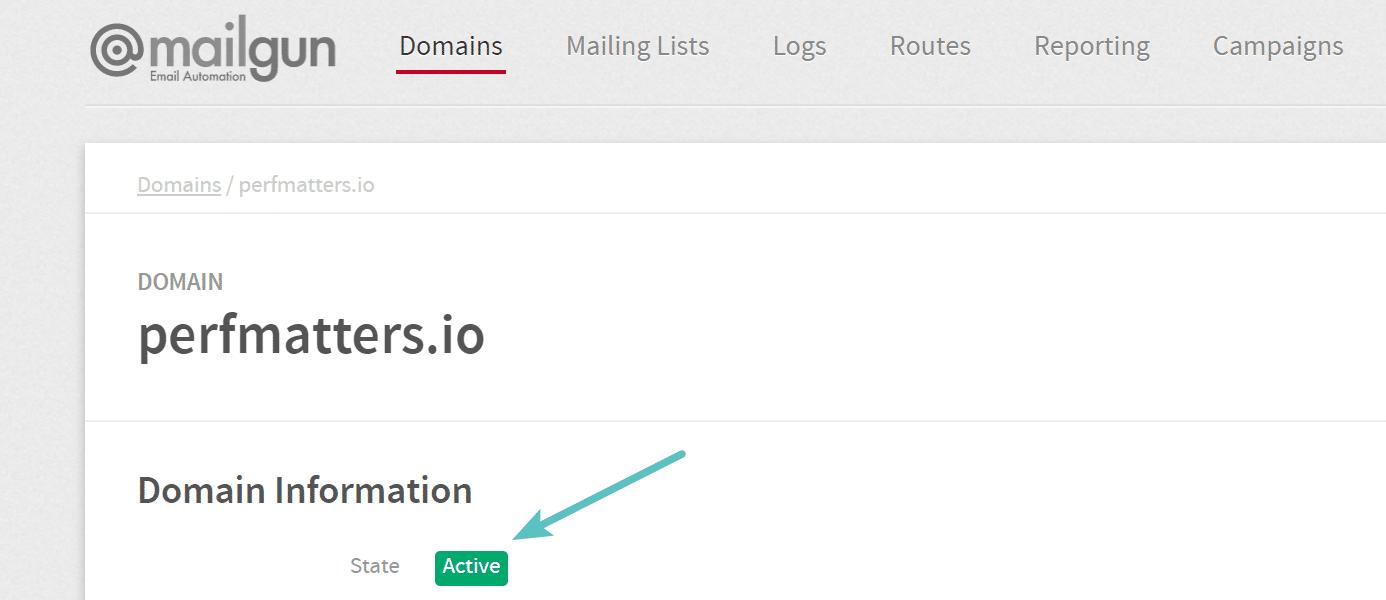 Dominio activo en Mailgun