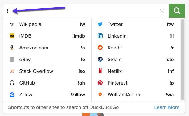 Utilice Duck Duck Go Go Search
