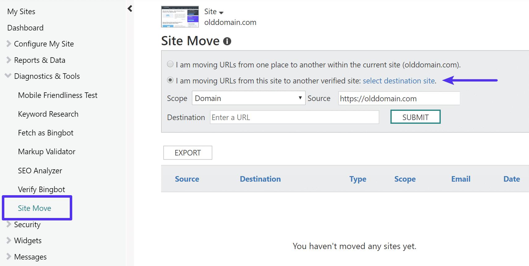 Migración del sitio en las Herramientas para webmasters de Bing