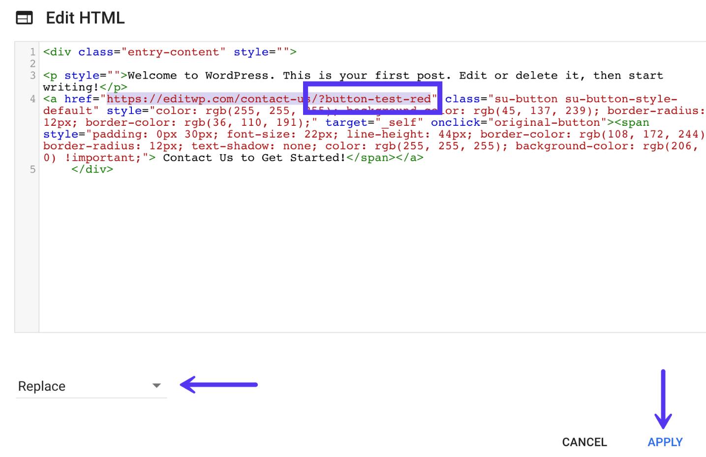 Cambiar la URL del botón