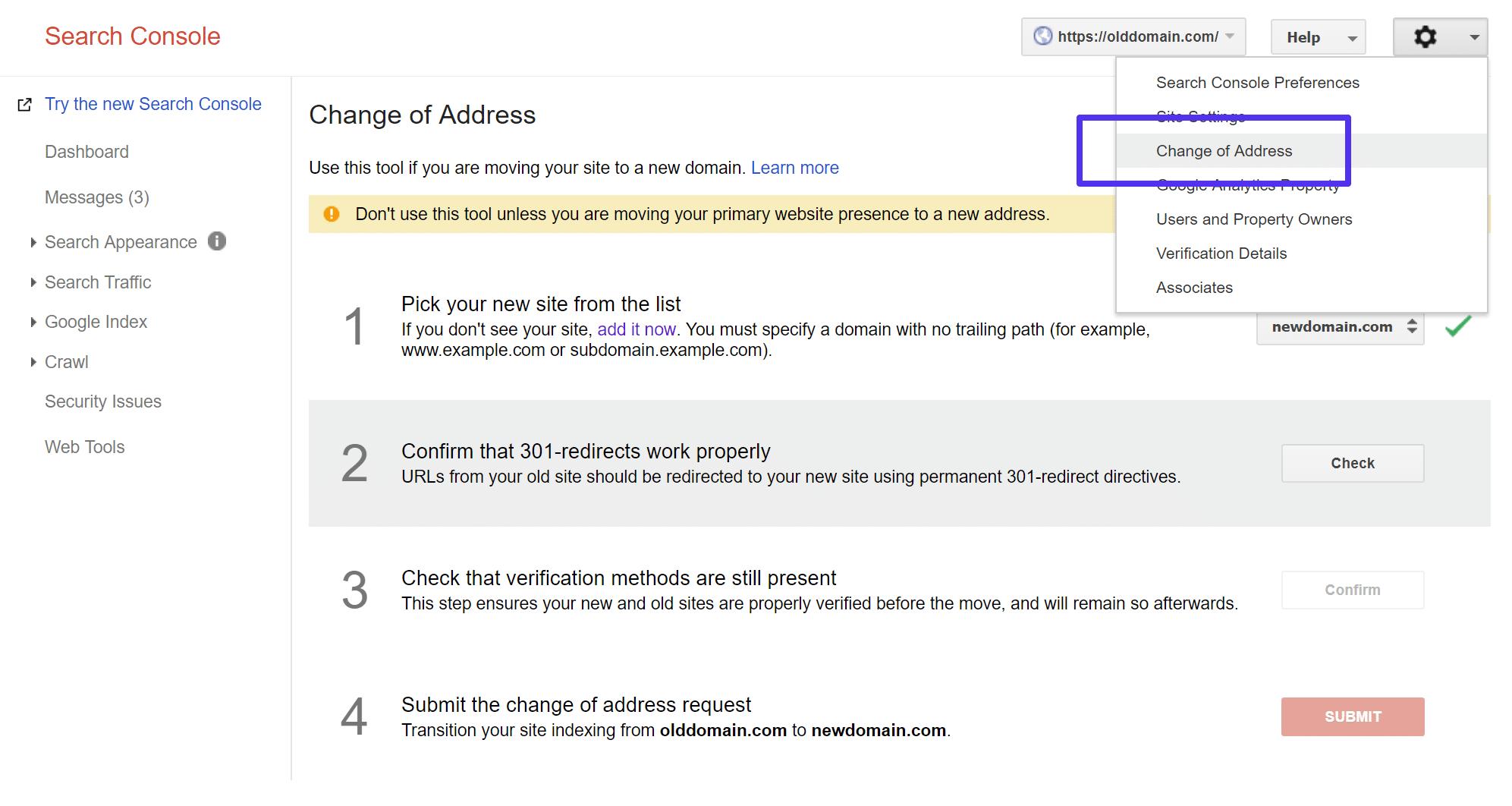 Utilice la Consola de búsqueda de Google para cambiar su dirección