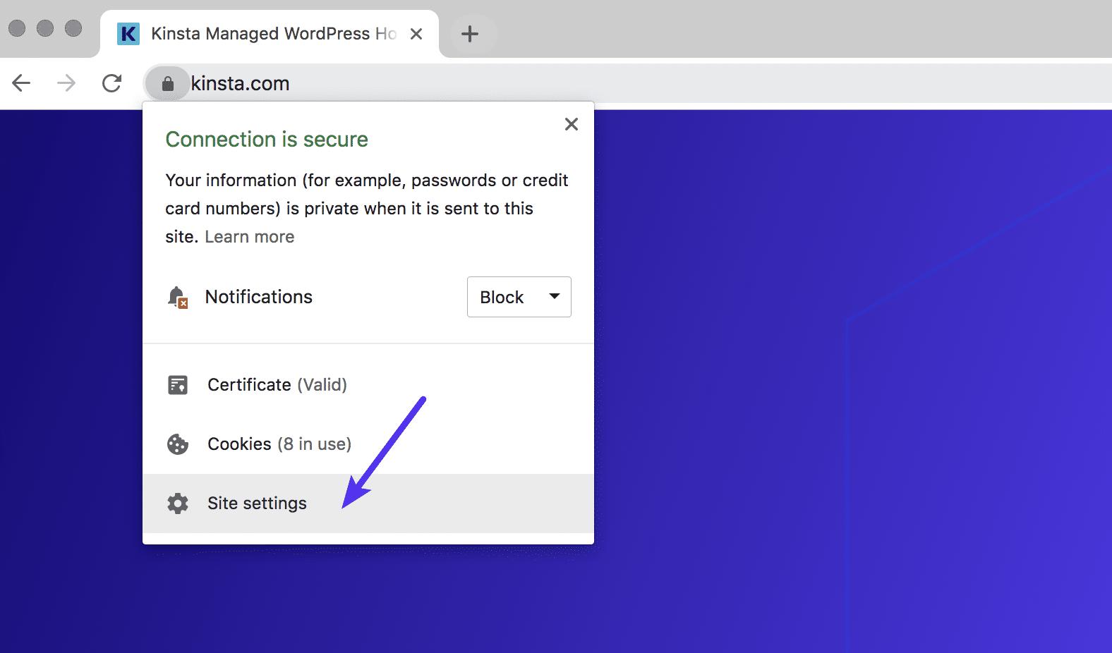 Configuración del sitio web de Chrome