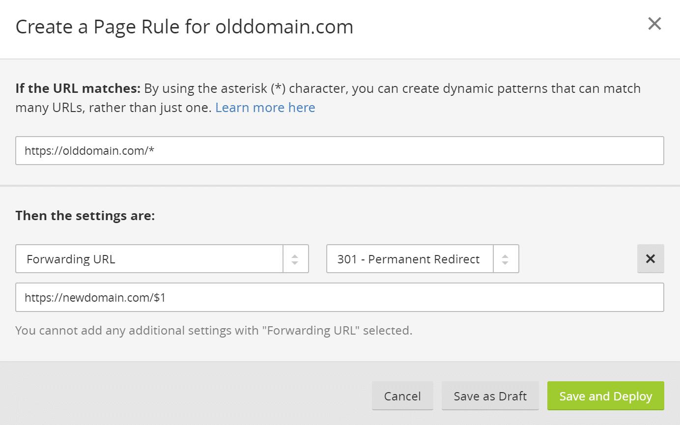 Reglas para las páginas de control de Cloudflare 301