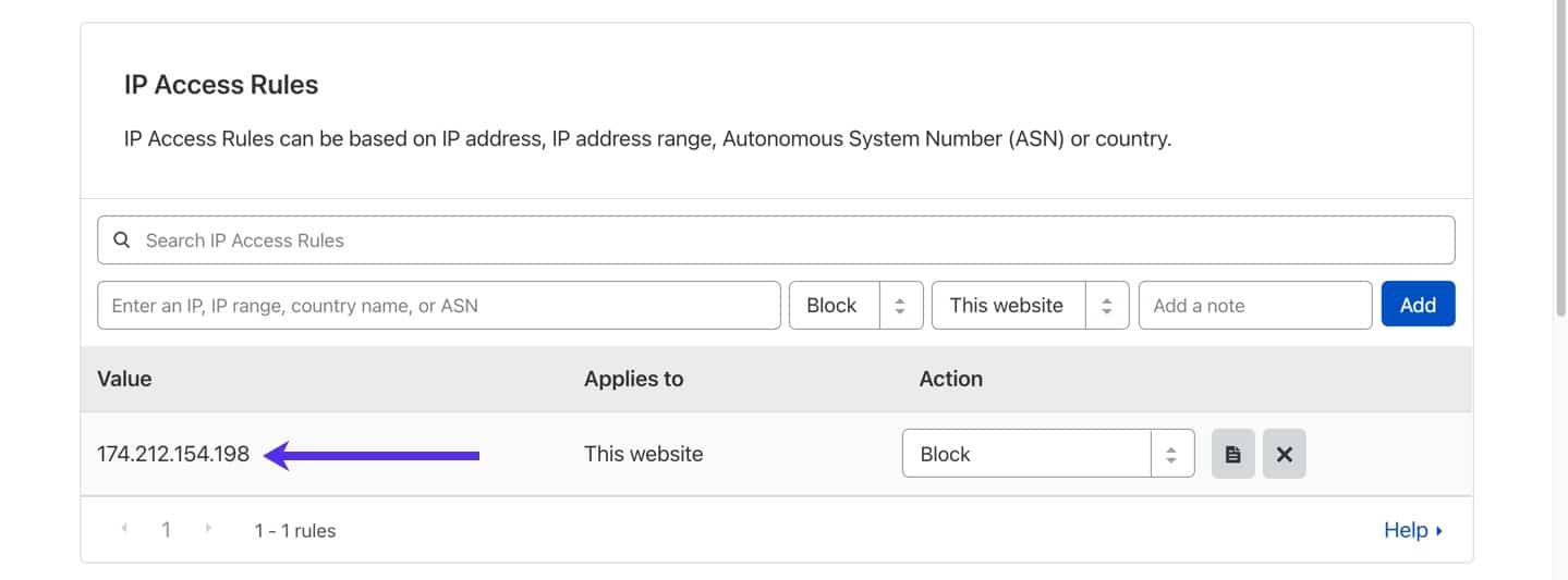 Reglas de licencia de IP en el panel de Cloudflare.