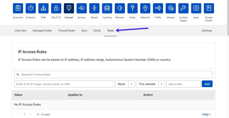 Panel de control de la herramienta Cloudflare.