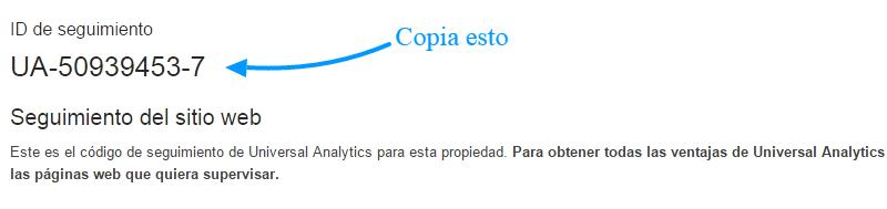 Copie su ID de seguimiento de Google Analytics
