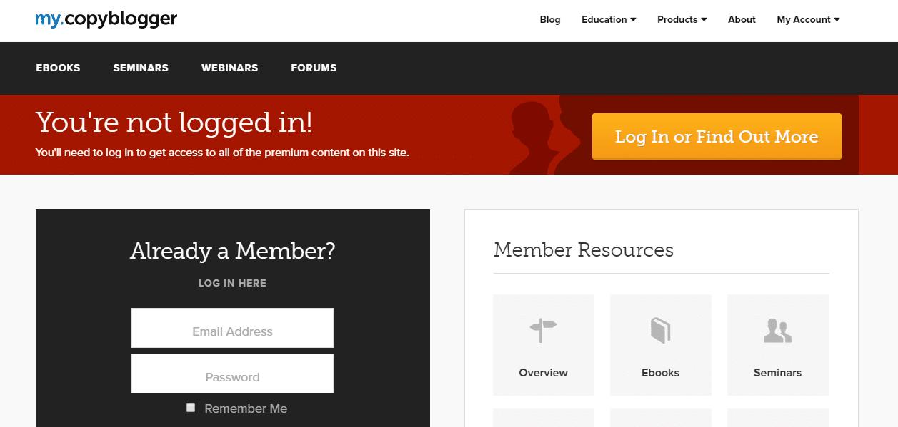 Página de miembros de Copyblogger