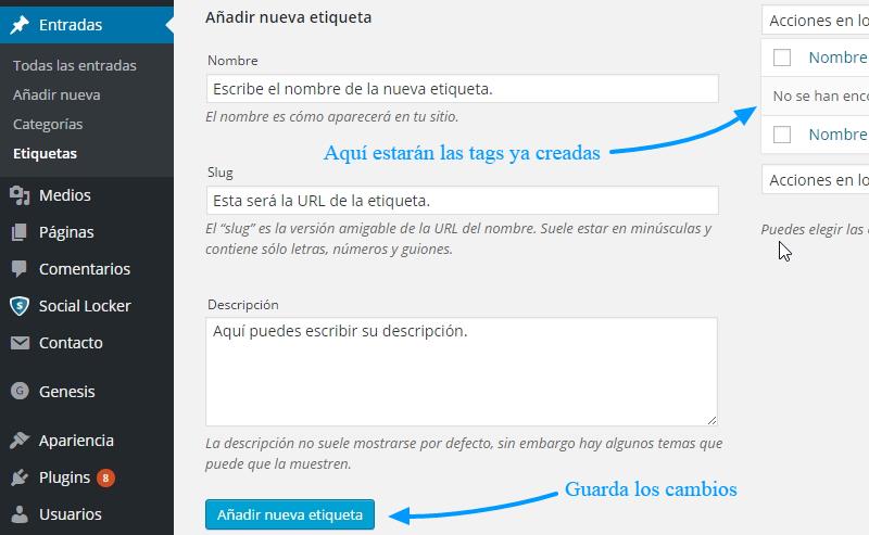 Crea una nueva pestaña en tu panel de WordPress.