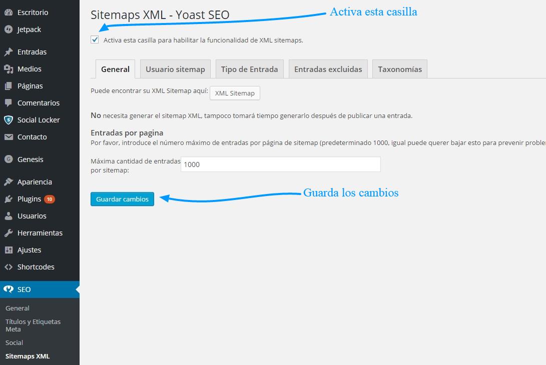 Cómo usar SEO WordPress para construir sitemap.xml de Yoast 1