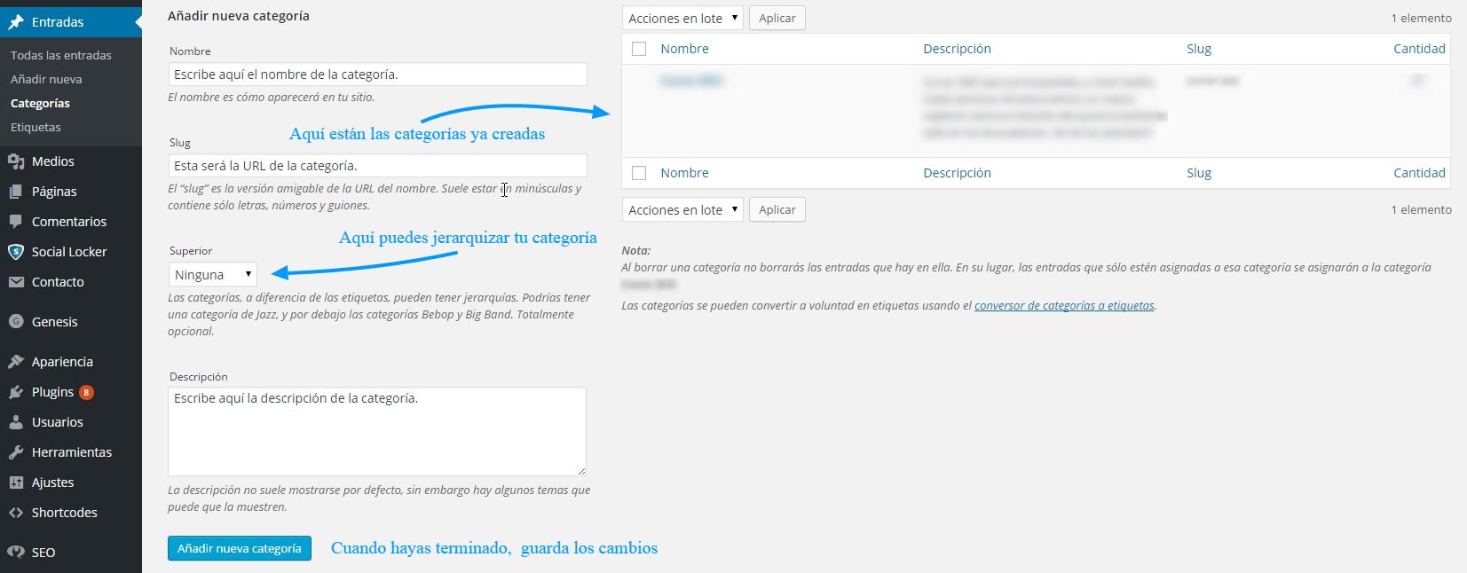 Crea una nueva categoría en WordPress