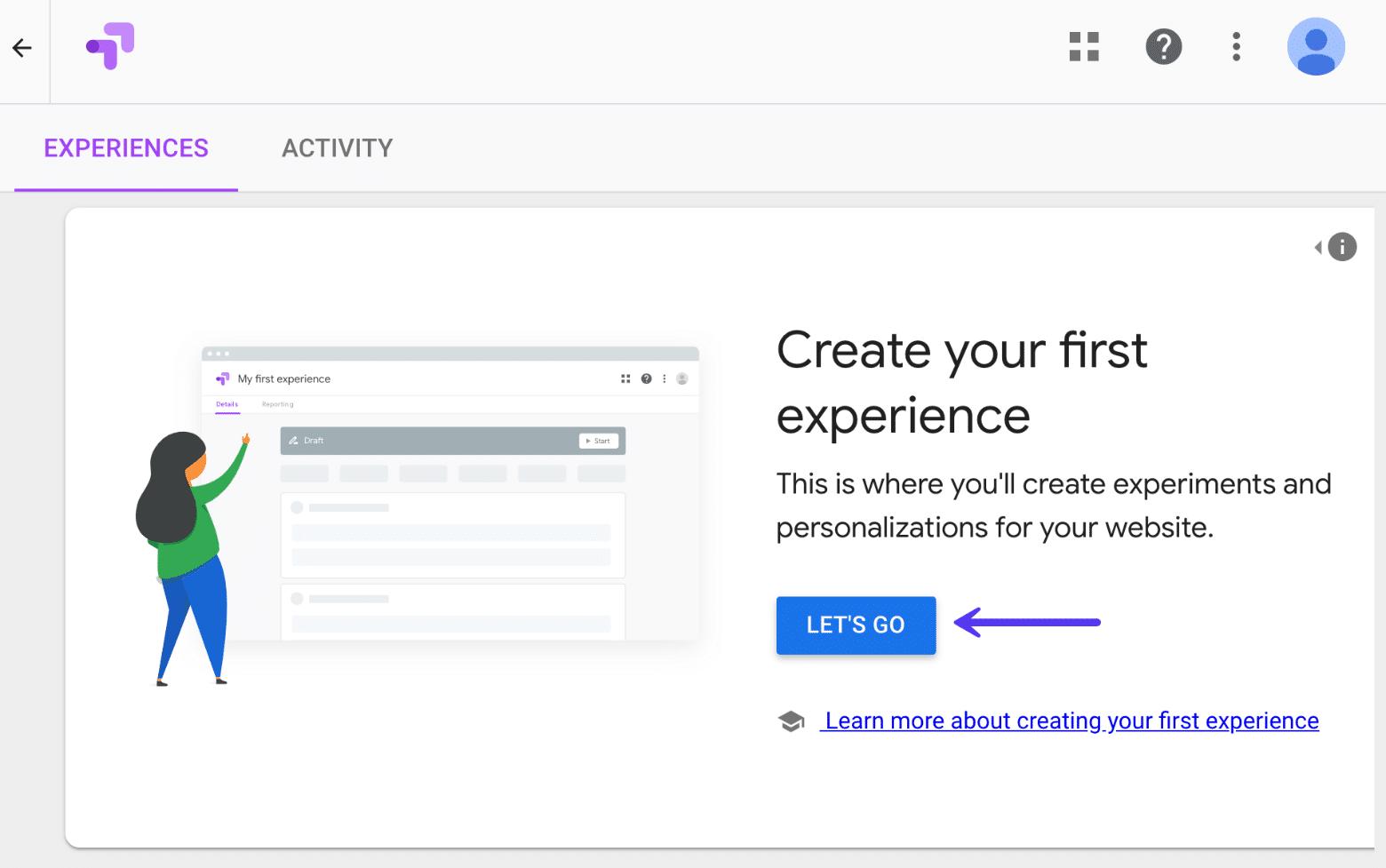 Cree una prueba A / B experiencial en Google Optimize