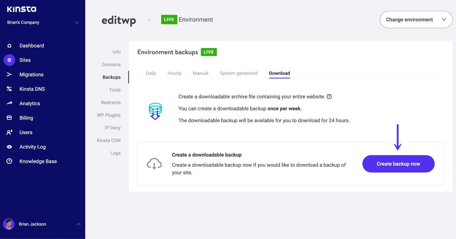 Crea una copia de seguridad manual de WordPress