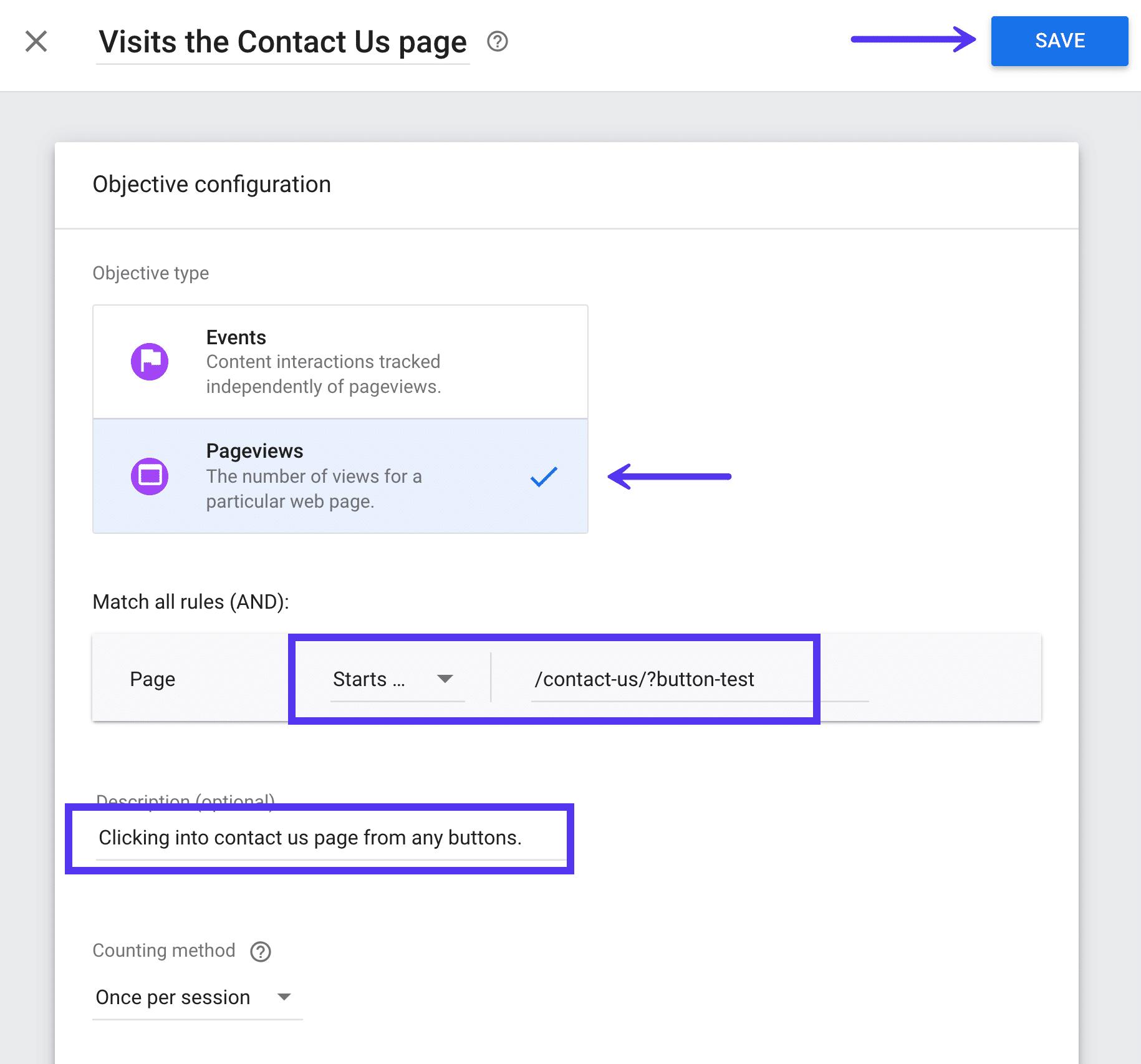 Objetivos personalizados en Google Optimize