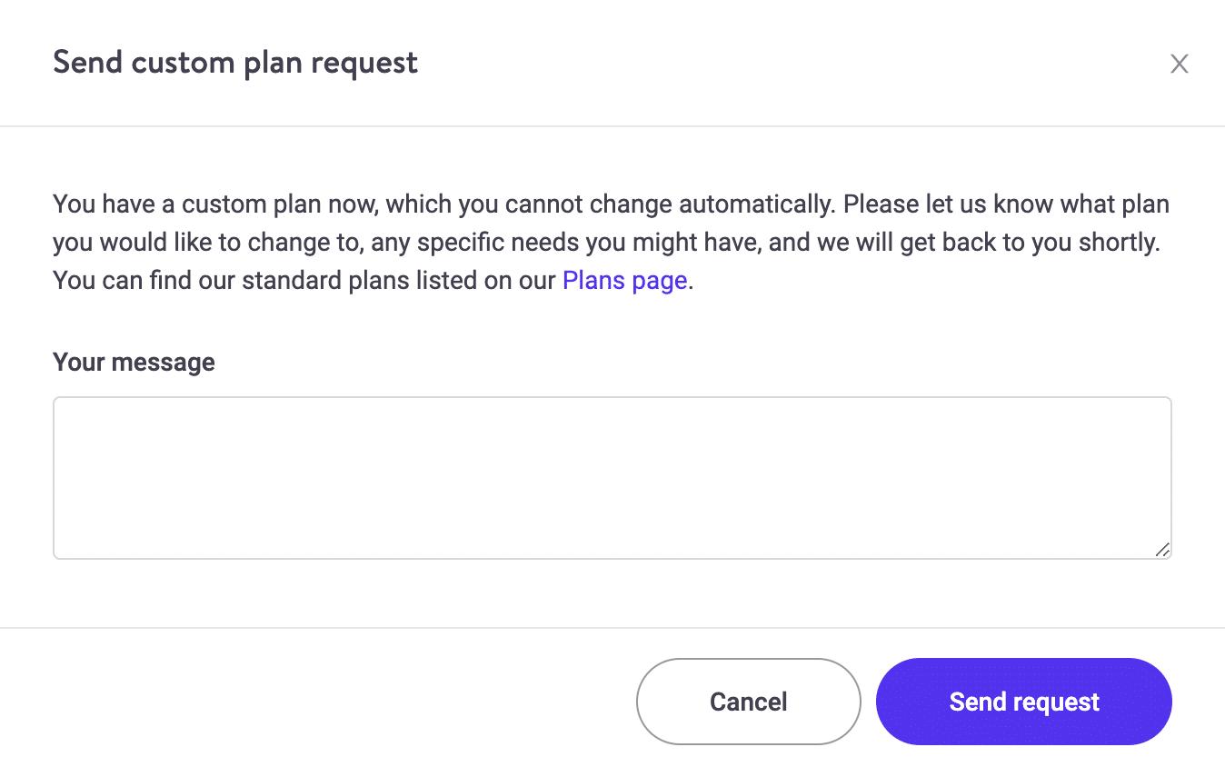 Envíe una solicitud de plan personalizado desde MyKinsta.