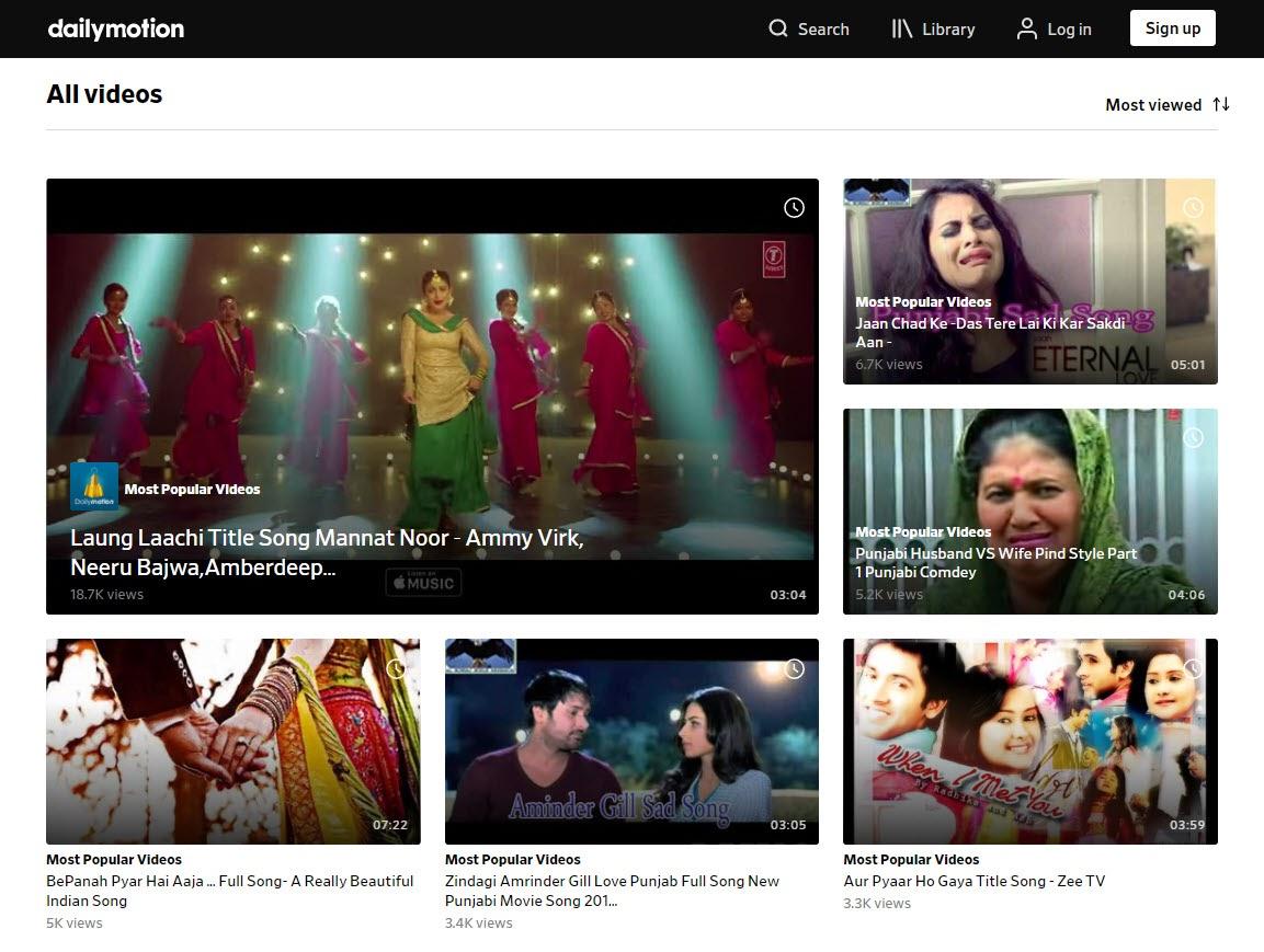 Vídeos populares en capturas de pantalla de Dailymotion.