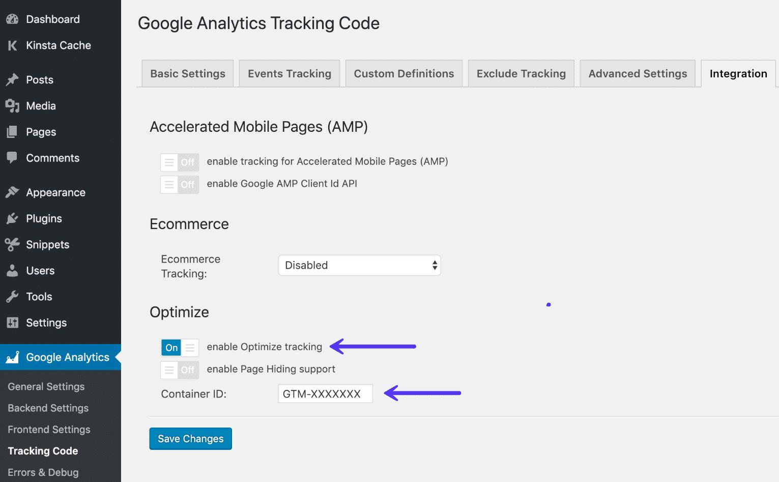 Activar el Optimizador de Google en el complemento de Analytics