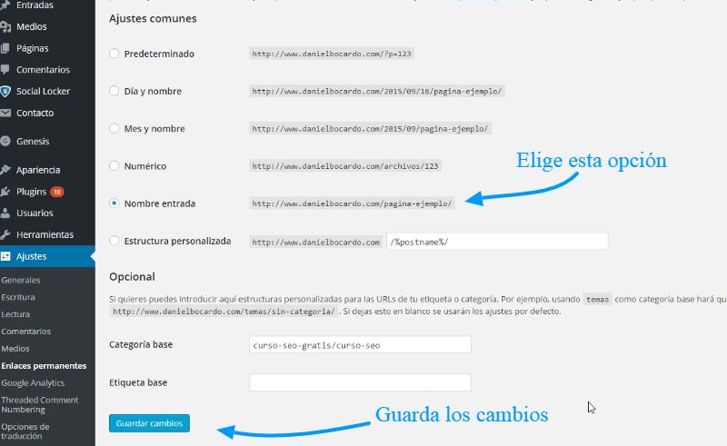 Enlace permanente en WordPress