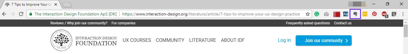 Icono de Evernote en Chrome